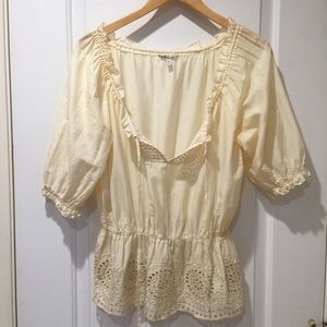 Forever 21 Peasant Top Cream Eyelet Small